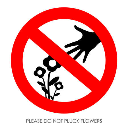 Do not pluck flowers sign