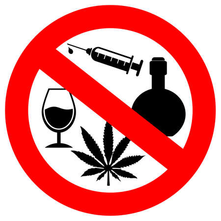 No alcohol and drugs sign