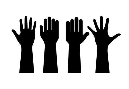 Illustration pour Raised human hands contours - image libre de droit