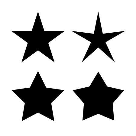 Five pointed star icons set