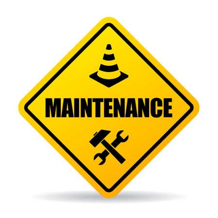 Illustration pour Yellow caution maintenance vector sign on white background - image libre de droit