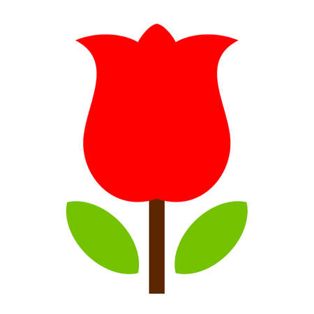 Red tulip flower vector icon isolated on white background
