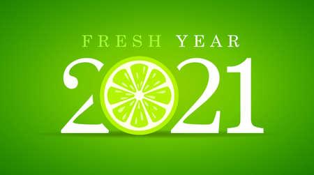 Illustration pour Happy fresh year 2021, greeting card design on green - image libre de droit