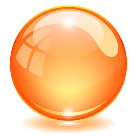 Illustration for Orange glass ball vector illustration isolated on white background - Royalty Free Image