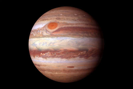 Photo for Planet Jupiter, with a big spot. On a black background. - Royalty Free Image