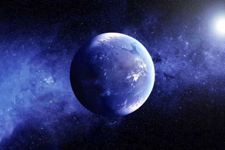Exoplanet with the atmosphere.