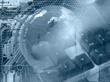 Foto de Abstract collage - globe, keyboard and cobweb on electronic background (blue).  - Imagen libre de derechos