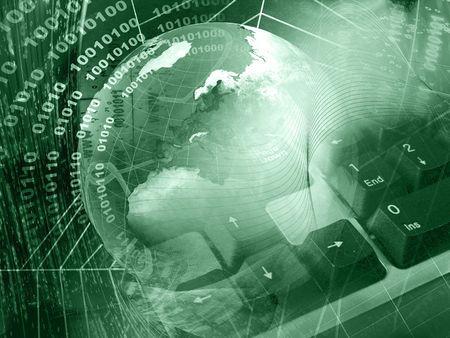 Photo for Communication background - globe and keyboard on digital background. - Royalty Free Image