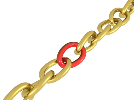 Gold chain with red central link, black background.