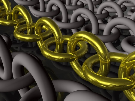 Yellow chain and gray chains, black background.
