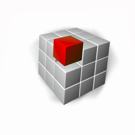 Abstract background - red and grey cubes.