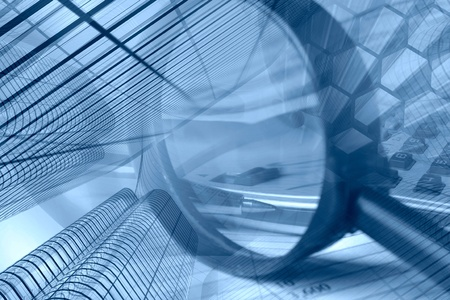 Photo pour Business collage in blues with buildings, pen and magnifier. - image libre de droit