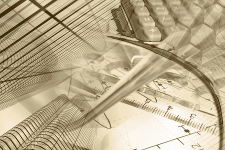 Business background in sepia with graph, ruler, pen, buildings and calculator