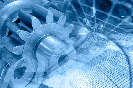 Photo pour Business background in blues with gears and digits. - image libre de droit