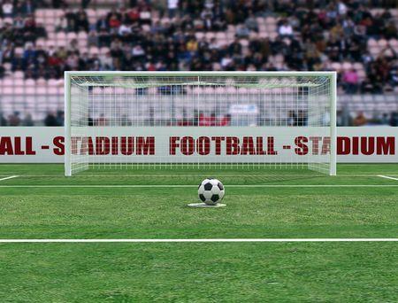 virtual view of a soccer stadium before penalty - digital artwork