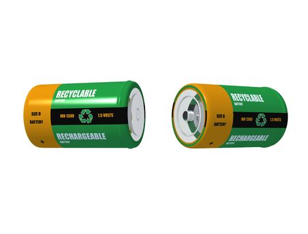 3d rendering of two rechargeable battery on white background
