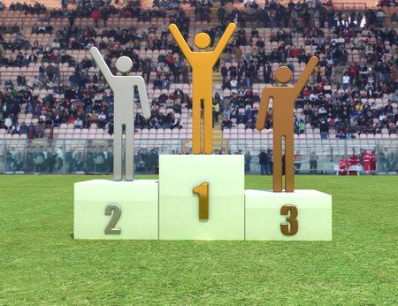 Three human figure on podium in the stadium - digital artwork
