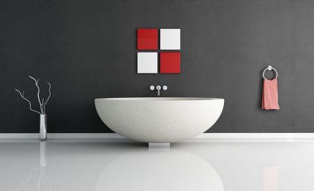 modern minimal bathroom with fashion sandstone round bathtub