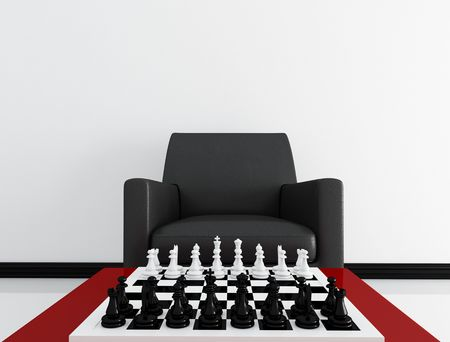 perspective view of a board before a match -rendering