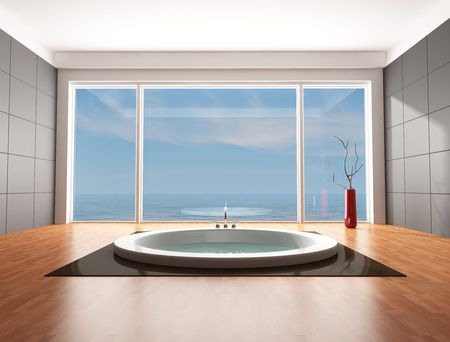 minimalist bathroom with big circular bathtub - rendering - the omage on background is a my rendering composition