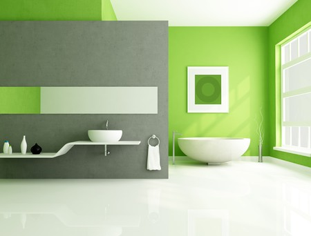 contemporary bathroom with sandstone bathtub and white sink-rendering