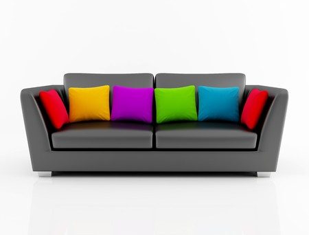 black leather couch with colored cushion - rendering