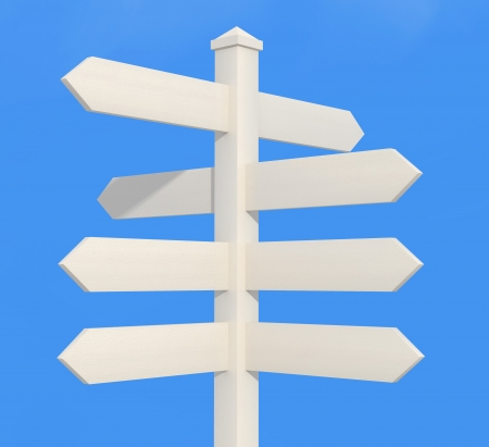 blank wooden directional sign post - rendering