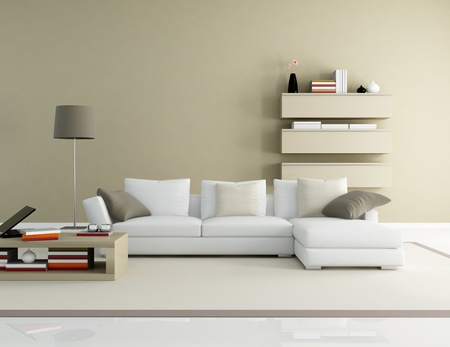 brown and beige modern living room - rendering