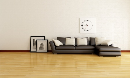 minimalist lounge with white brick wall and brown sofa - rendering- the picture in the frame are my photo