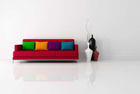 bright minimalist living room with red fabric couch with pillow - rendering