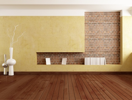 empty minimalist room with plaster wall and brick niche - rendering の写真素材