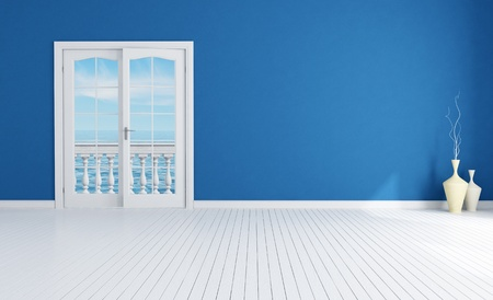 blue empty room with closed windows with white plank wood floor-rendering-the image on background is a my rendering composition