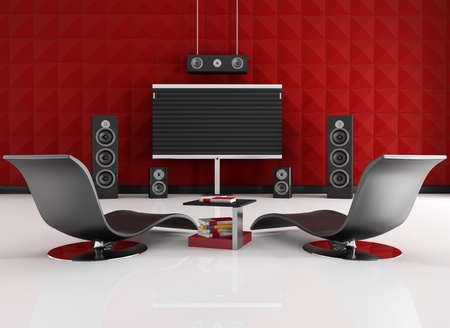 home cinema room with red acoustic panel - rendering