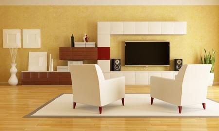 elegant living room with flat tv - rendering