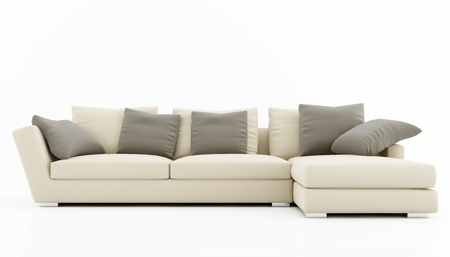 Beige and gray sofa isolated on white - rendering