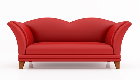 red fashion couch isolated on white - rendering