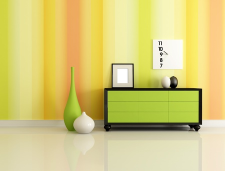 modern interior with  green dresser and multicolor  wallpaper  - rendering