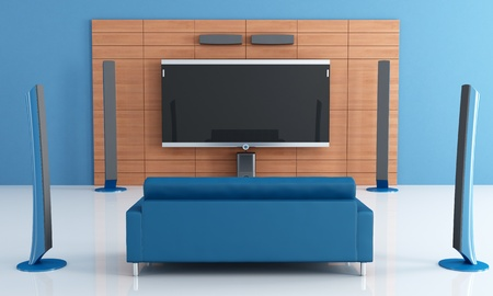 Contemporay blue home theater with couch - rendering