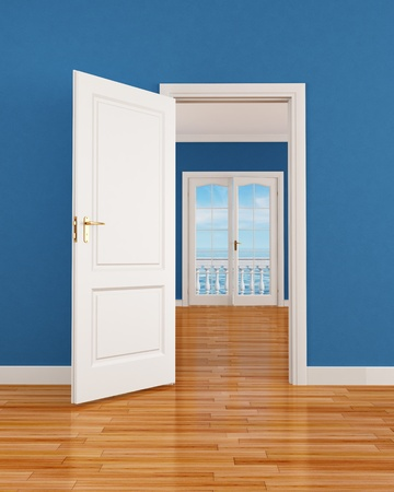 empty blue interior with open door and window-rendering-the image on background is a my render composition