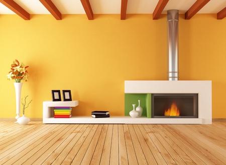 bright empty modern interior with minimalist fireplace - rendering