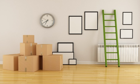home interior with cardboard boxes ladder and empty frame-rendering