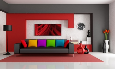 Red white and black modern living room with black couch - rendering- the art picture on wall is a my composition  の写真素材