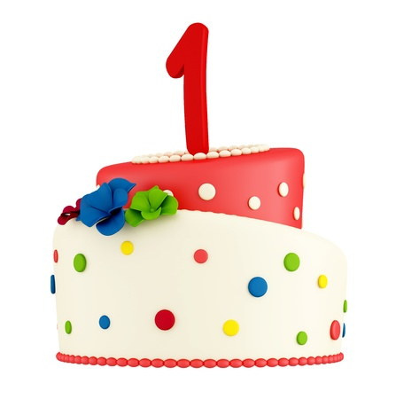 First birthday cake  isolated on white - rendering