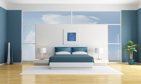 minimalist white and blue bedroom - rendering - the art picture on wall are my compositions