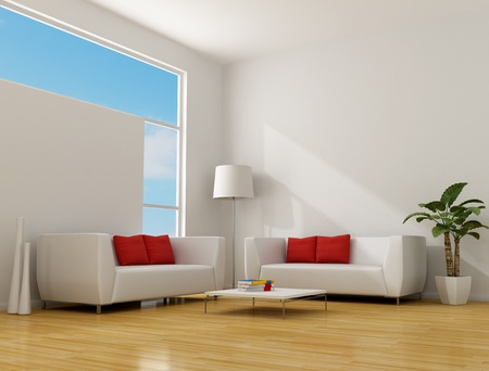white minimalist lounge with two contemporary sofa with red pillow - rendering
