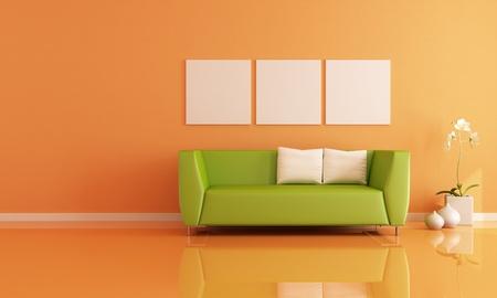 green sofa in a orange living room - rendering
