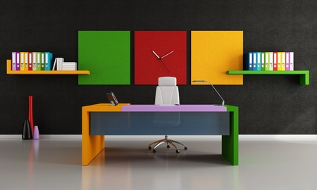 contemporary colorful work space  - rendering