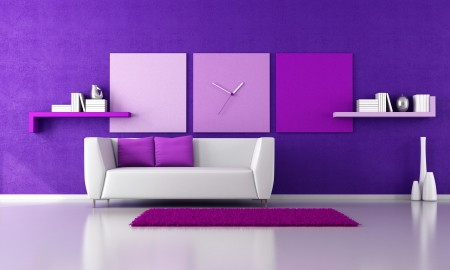 minimalist purple livingroom with white couch - rendering