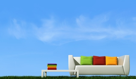 white couch with colorful cushion over grass against blue sky - rendering
