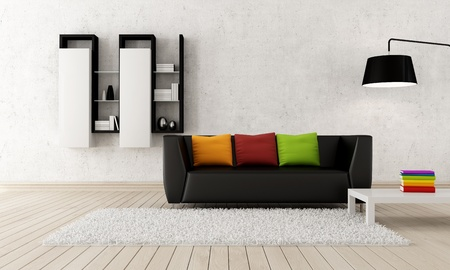 Photo pour Colorful contemporary living room with black leather couch - rendering - image libre de droit